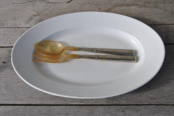 Salatbestik i sølv og ben