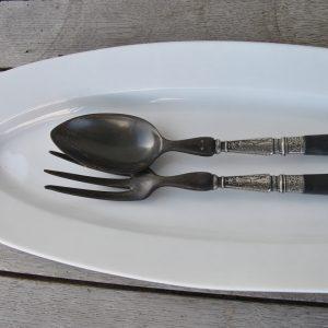 Salatbestik sort og sølv