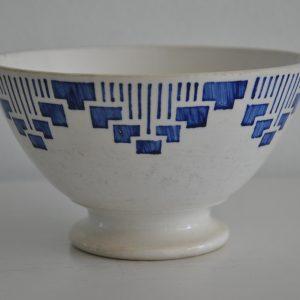 Fransk porcelæn cafeoleskål med blåt mønster