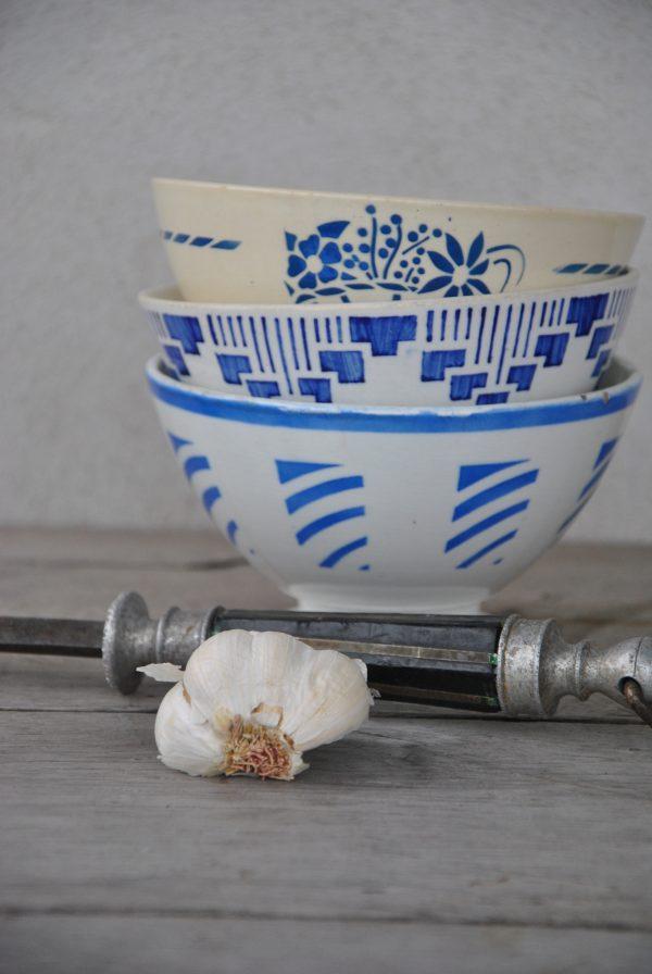 Smuk blåmønstret cafeóleskål