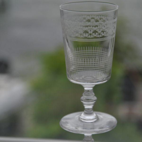 6 Gamle Franske rødvinsglas med ciseleringer