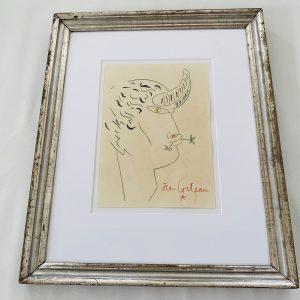 Jean Cocteau Litografi i fransk sølvramme