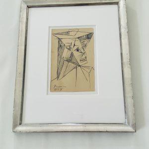Picasso stregtegning i gammel sølvramme