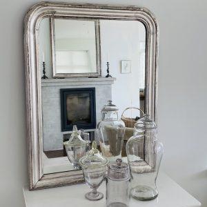 Stort fransk Louis Philippe sølvspejl