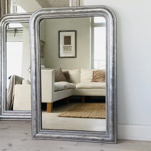 Stort Louis Philippe Sølvspejl m perlekant - 106 x 69 cm