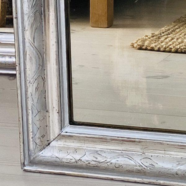 Stort fransk Louis philippe sølvspejl - 108 x 75 cm